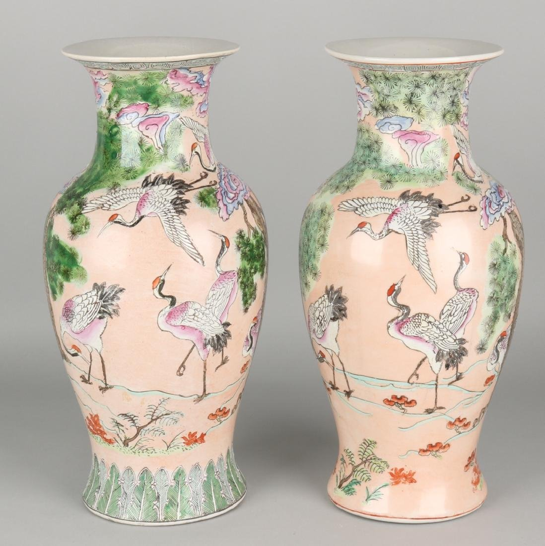 Antique chinese porcelain ornamental vases with fam two antique chinese porcelain ornamental vases with fam floridaeventfo Choice Image