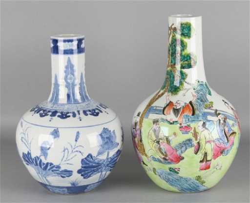 Two Large Old Chinese Porcelain Ball Vases With Blue Fl