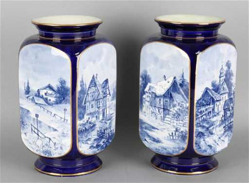 Two Antique German Villeroy And Boch Four Sided Vases