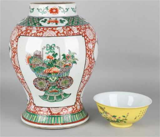 Old Chinese Porcelain Vase Family Verte First Half Of