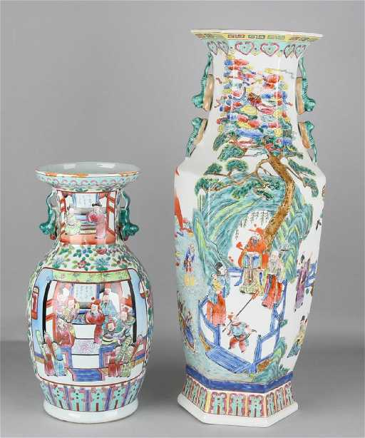 Two Large Old Chinese Porcelain Vases With Figures And
