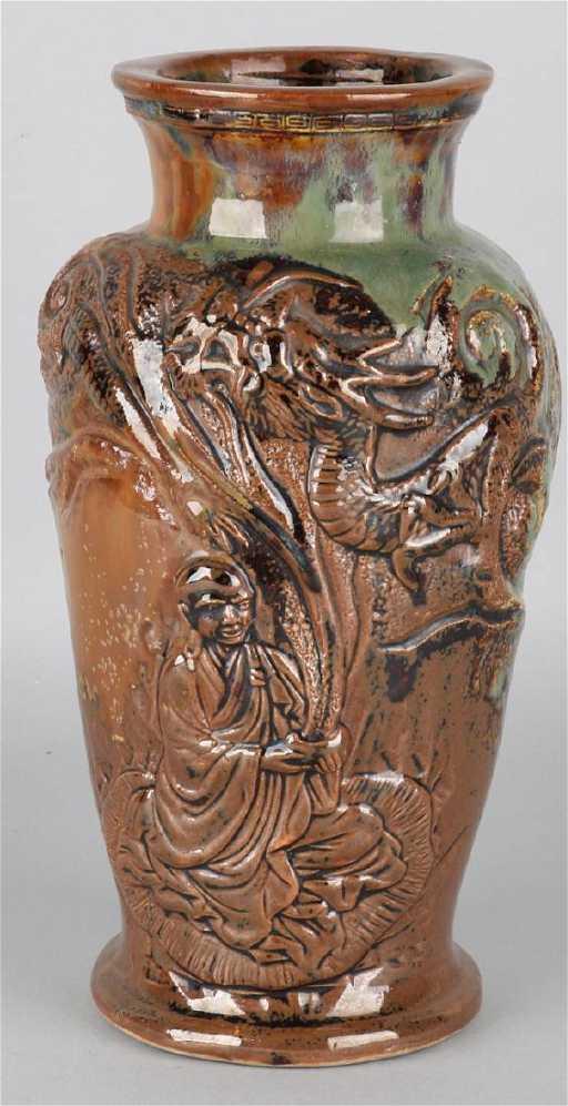 Large Glazed Antique Japanese Ceramic Vase With Buddhis