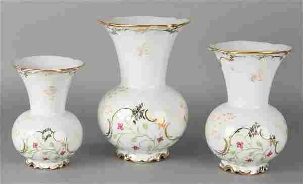 Three old German 'Fürstenberg' porcelain ornamental vas
