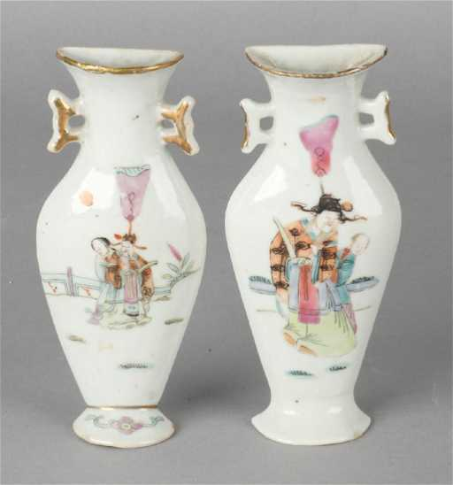 Two 19th Century Chinese Porcelain Half Wall Vases With