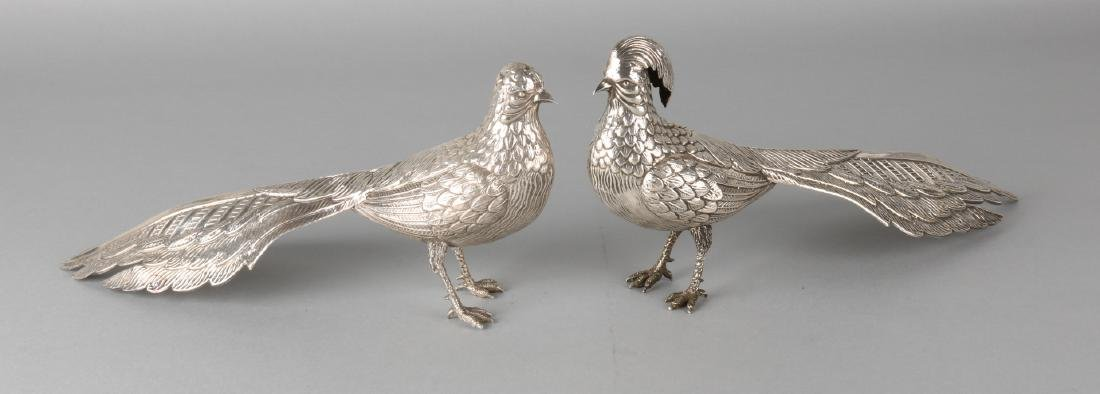 Two silver pheasants, 915/000. A pheasant pair, beautifully worked out. Spain. 3