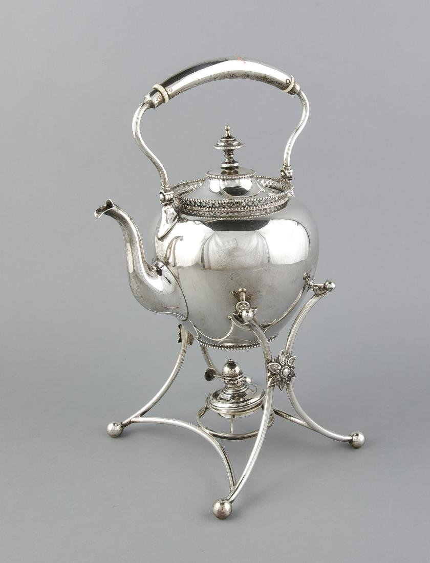 Silver bouilloire, kettle on stand, 835/000, decorated with pearl edge and sawn