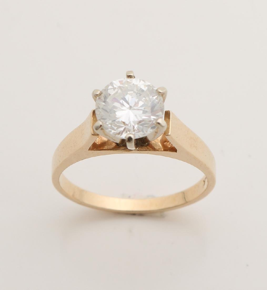 Capital yellow gold solitaire ring, 585/000, with diamond. Ring with a classic c