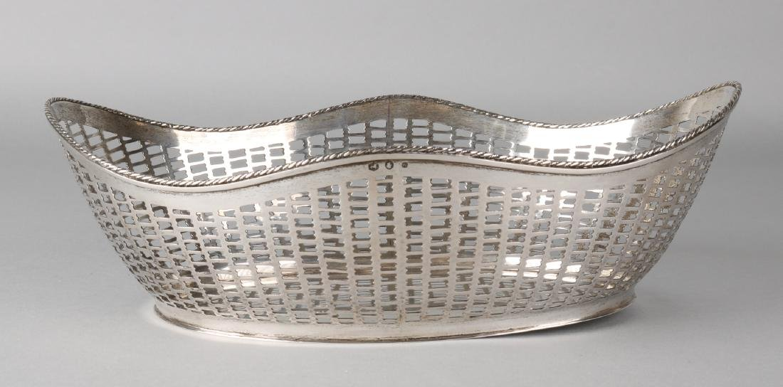 Silver bread basket, 835/000, oval-patterned model, sawn with a twisted soldered