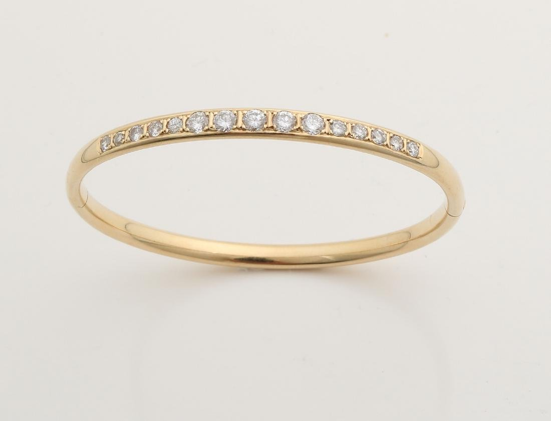 Yellow gold slave band, 585/000, solid ball model set with brilliant cut diamond