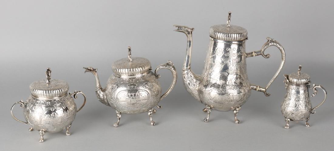 Silver tableware, 4-piece, with a coffee pot, tea jug, milk jug and sugar bowl,