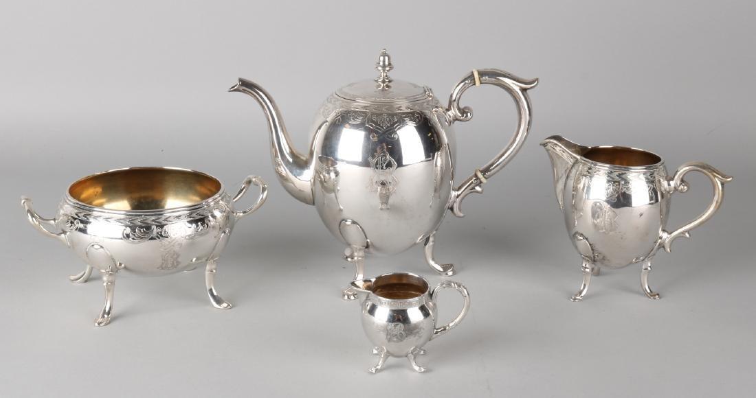 Silver tea service, 800/000, 3-piece, with tea jug, milk jug and sugar bowl. A b