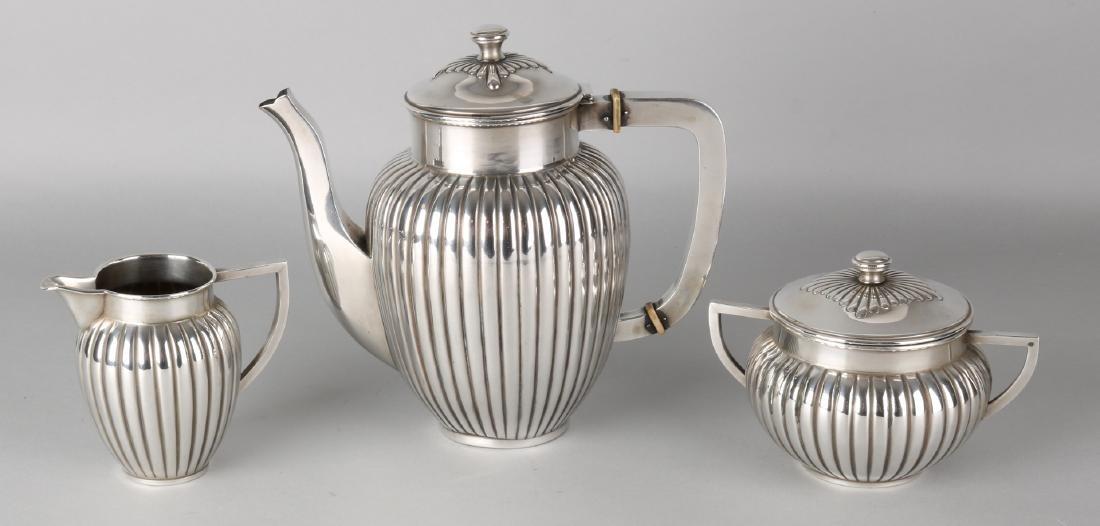 Silver tableware, 800/000, 3 parts with tea pot, milk jug and sugar bowl with ca