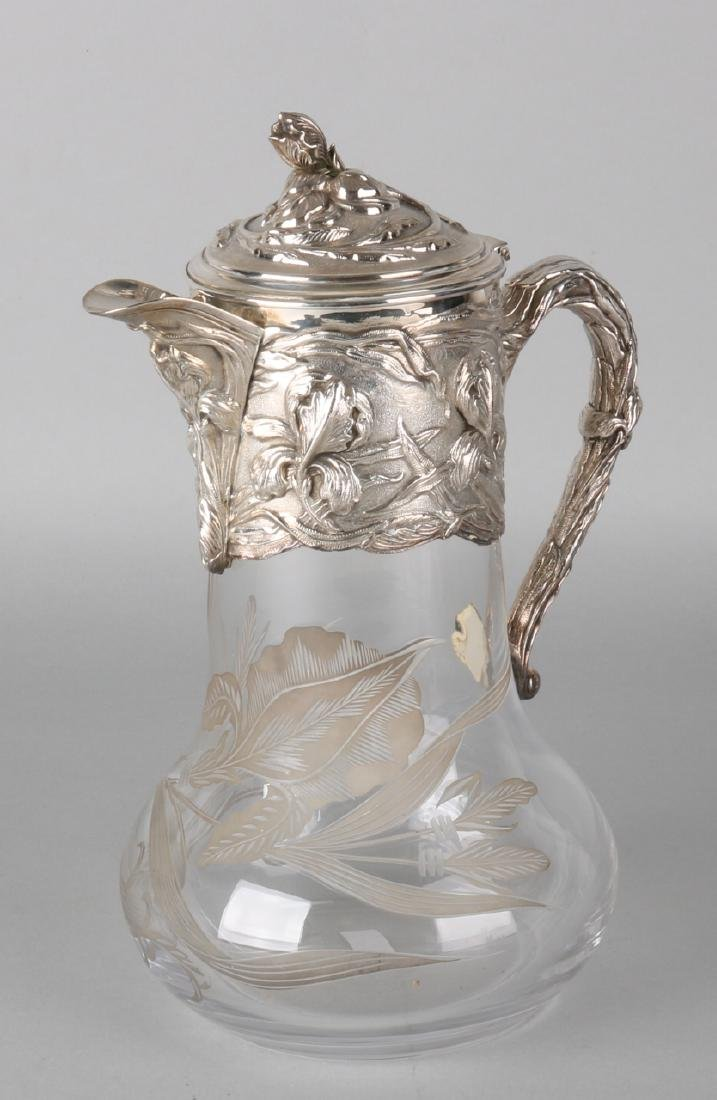 Special water jug ??with silver, Jugendstil, The jug is decorated with an etched