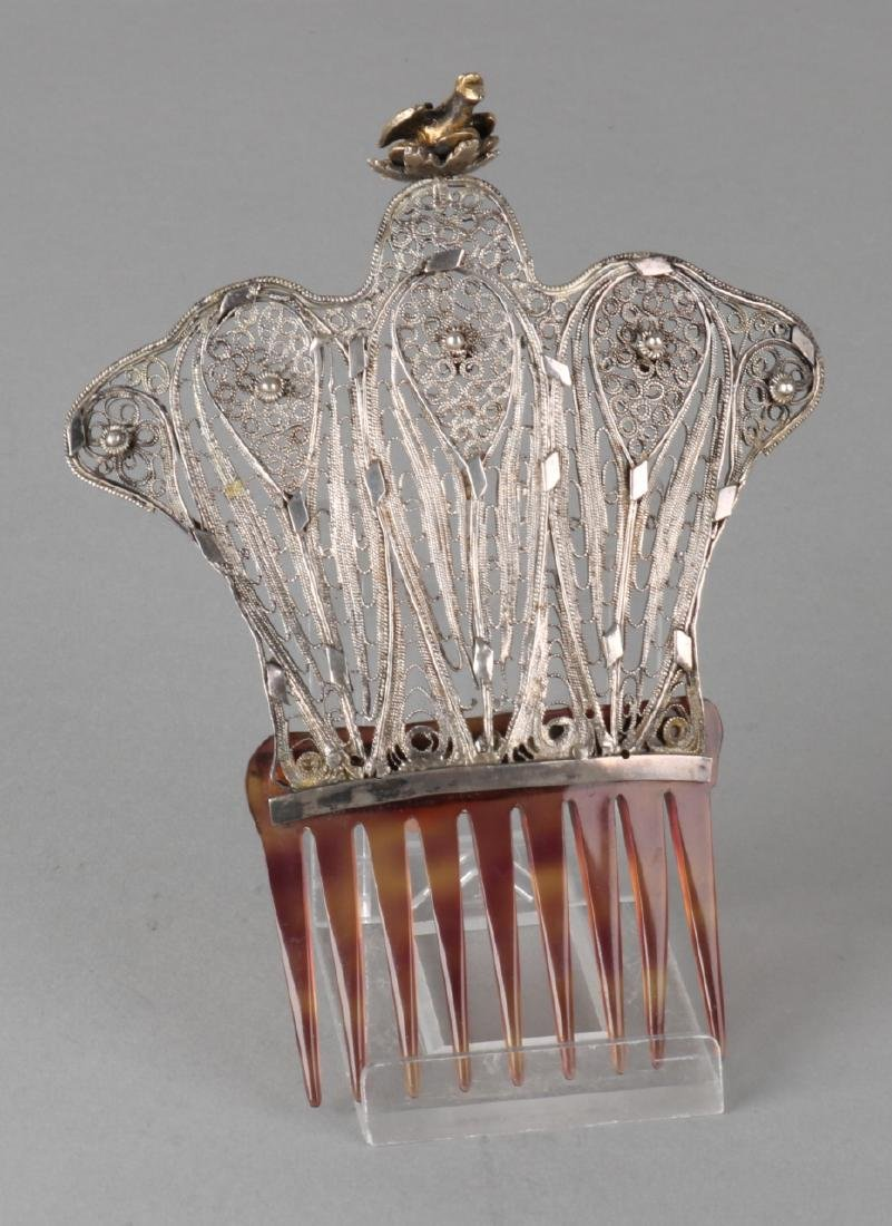 Special antique hair comb with silver, BWG. Hair comb with silver decoration fro