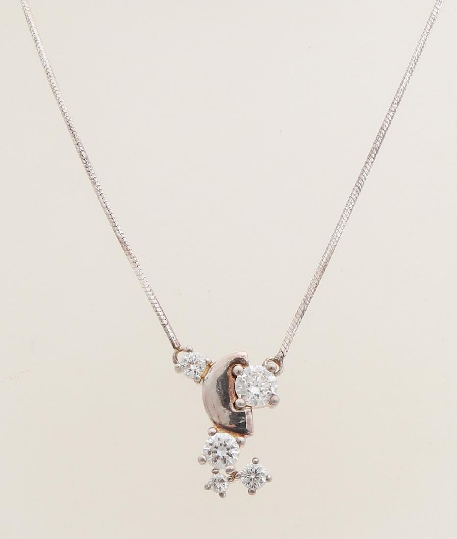 Silver choker with cubic zirconias, 925/000. Hexagonal snake necklace with a pen
