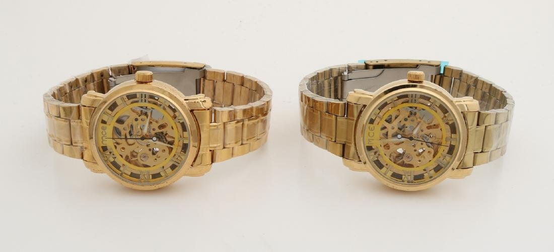 Two double men's watches, automatic with steel band. MCE, ø 39 mm. New