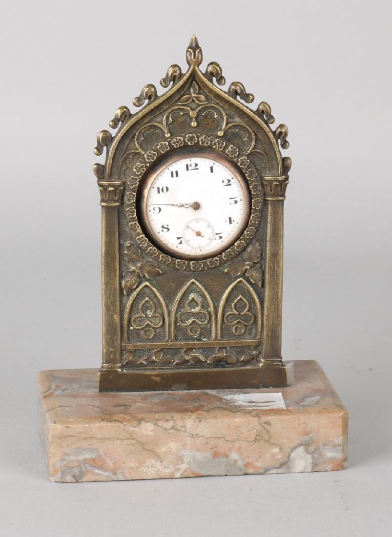 Antique bronze Portre Montre. Neo gothic with marble base and pocket watch. Pock