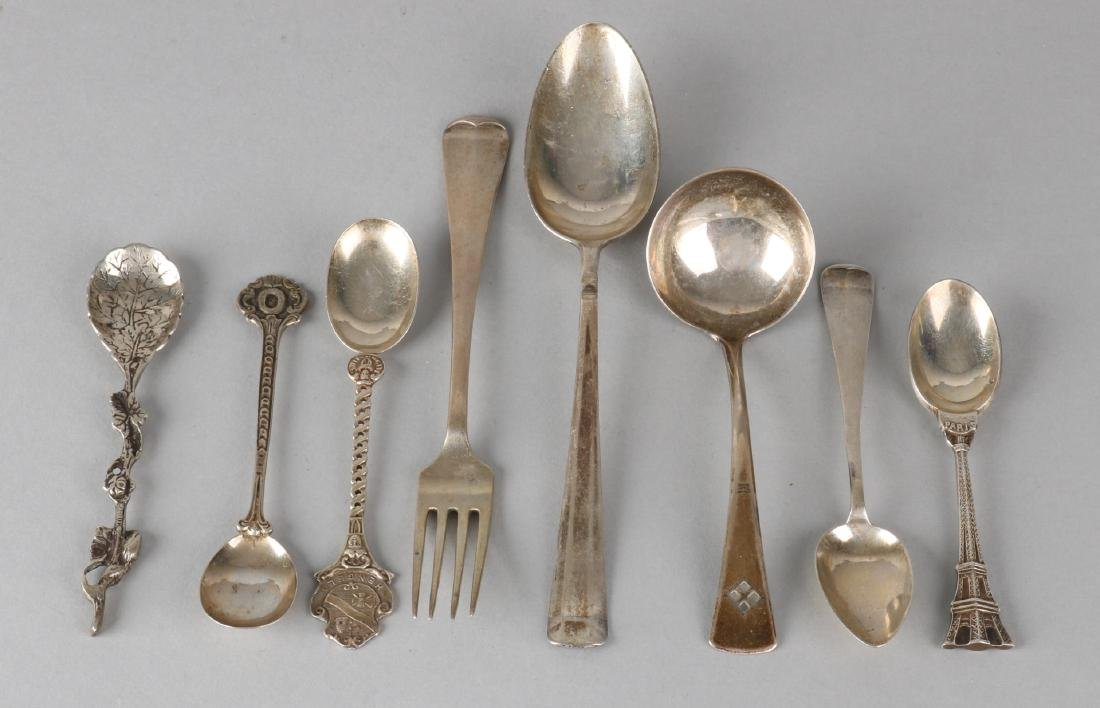 Lot of silver cutlery pieces, 835/000, with 4 teaspoons, a ladle, a fork and a d