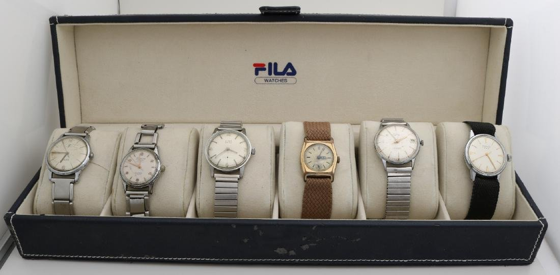 Box with 6 mechanical watches, including pontiac, olma partly with steel stretch