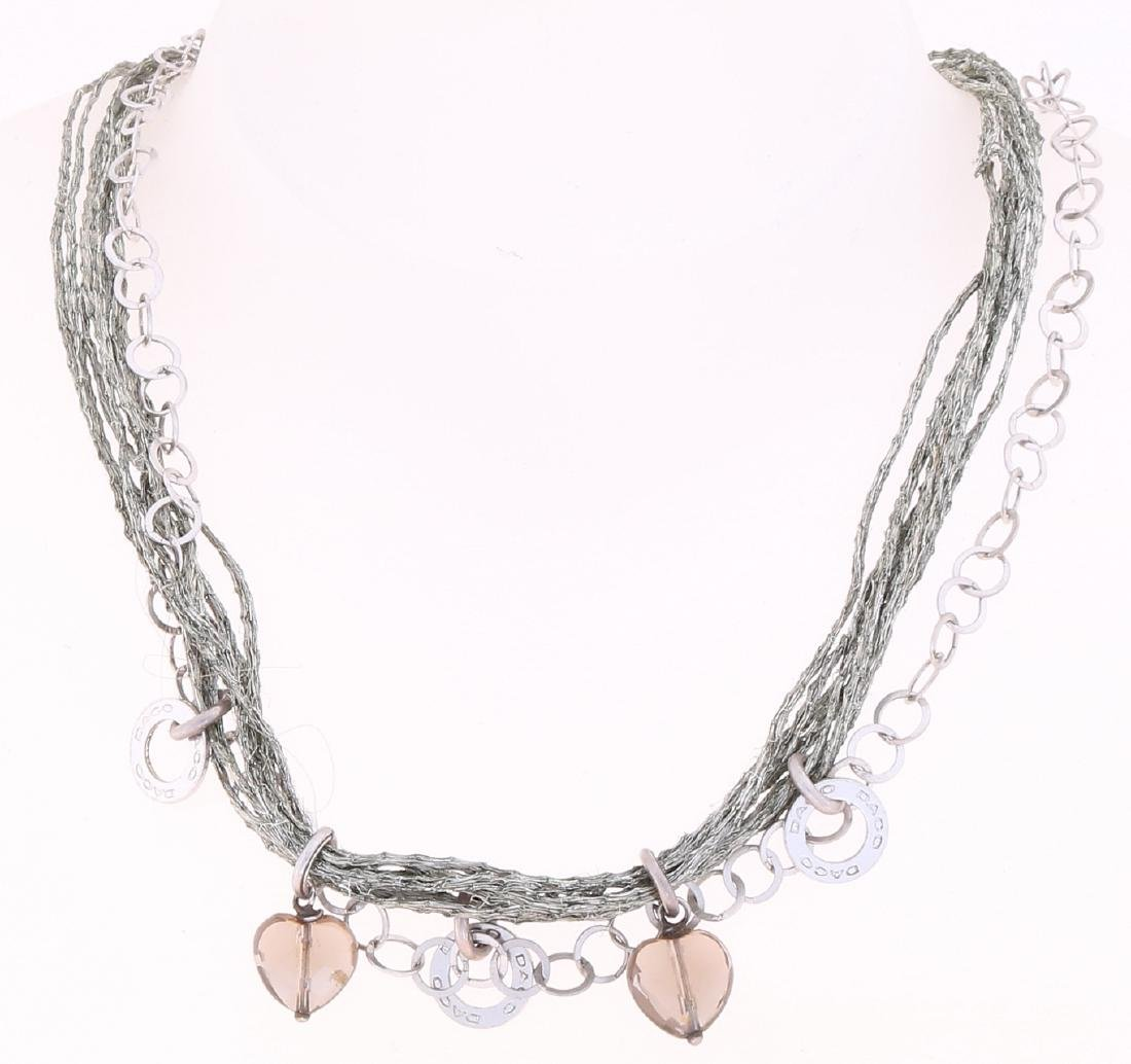 Silver necklace, Daco Milano, with finely braided silver wires, round switch nec