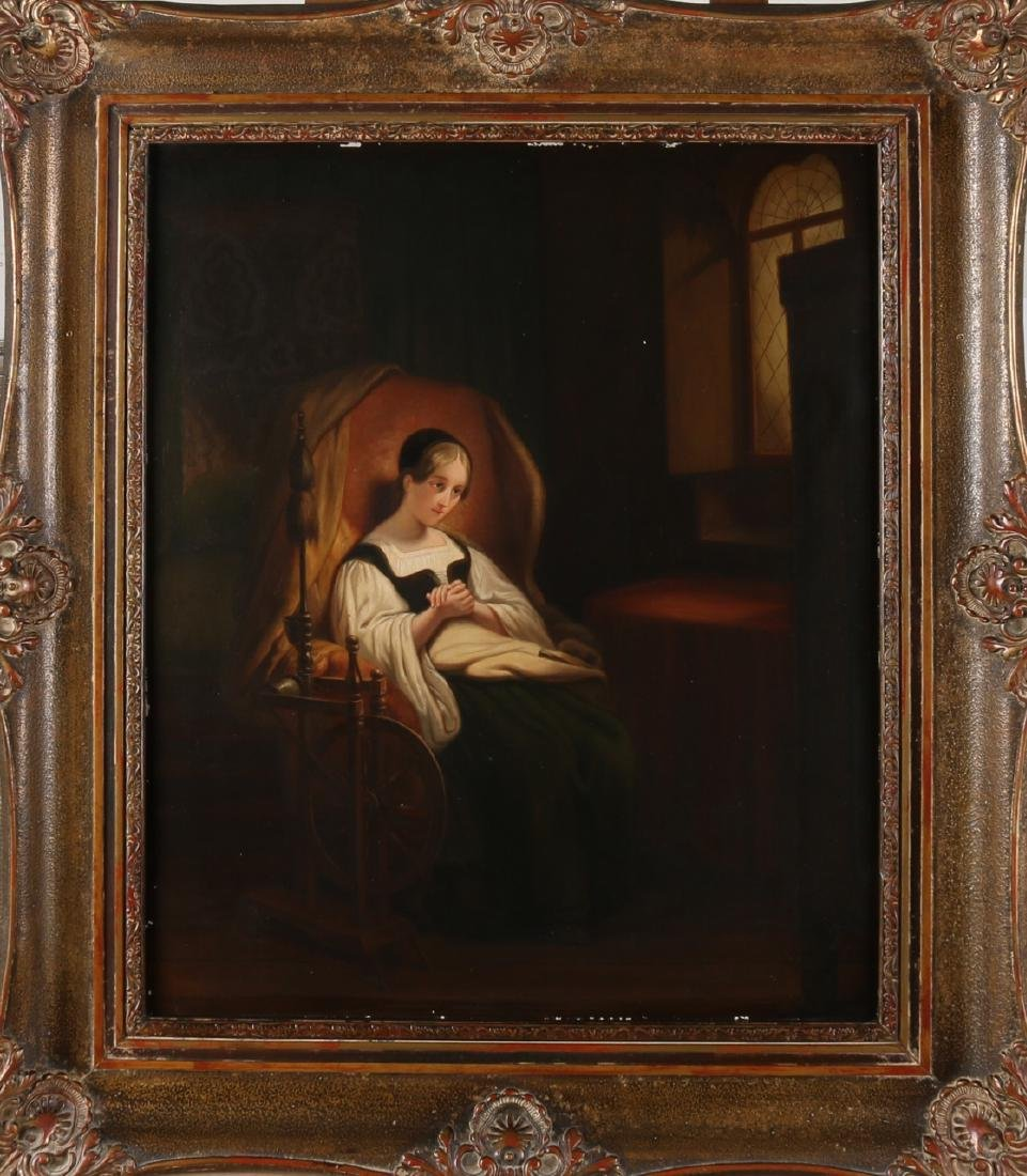 Unsigned? . 18th - 19th Century. 17th Century interior, woman in chair at window