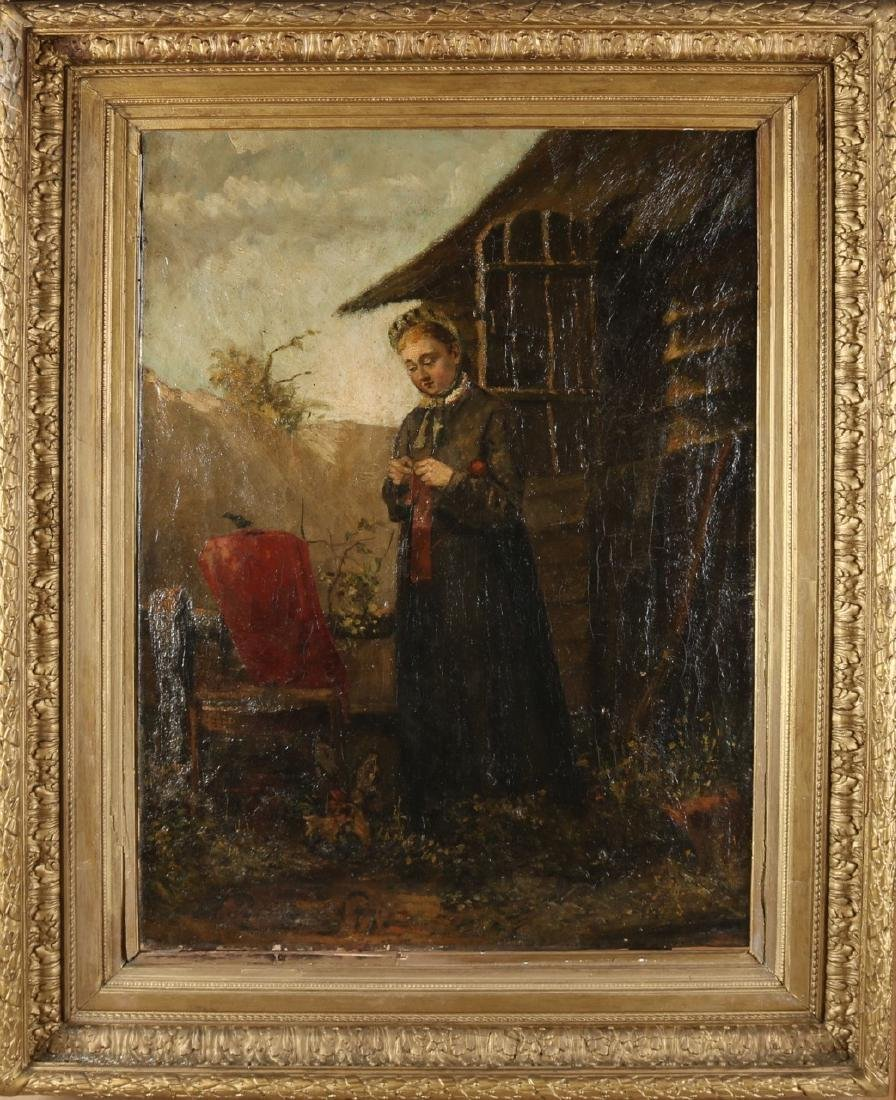 Unclear signed. Girl at barn. 19th century. Oil paint on linen. Size: 55 x 77 cm