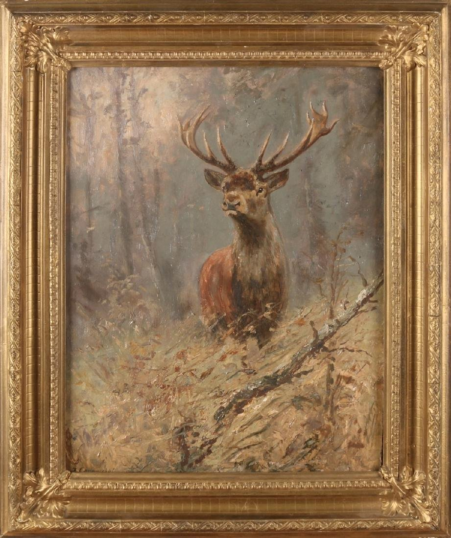 J. Endbuschel? German school. Red deer at forest edge. Oil paint on panel. Size: