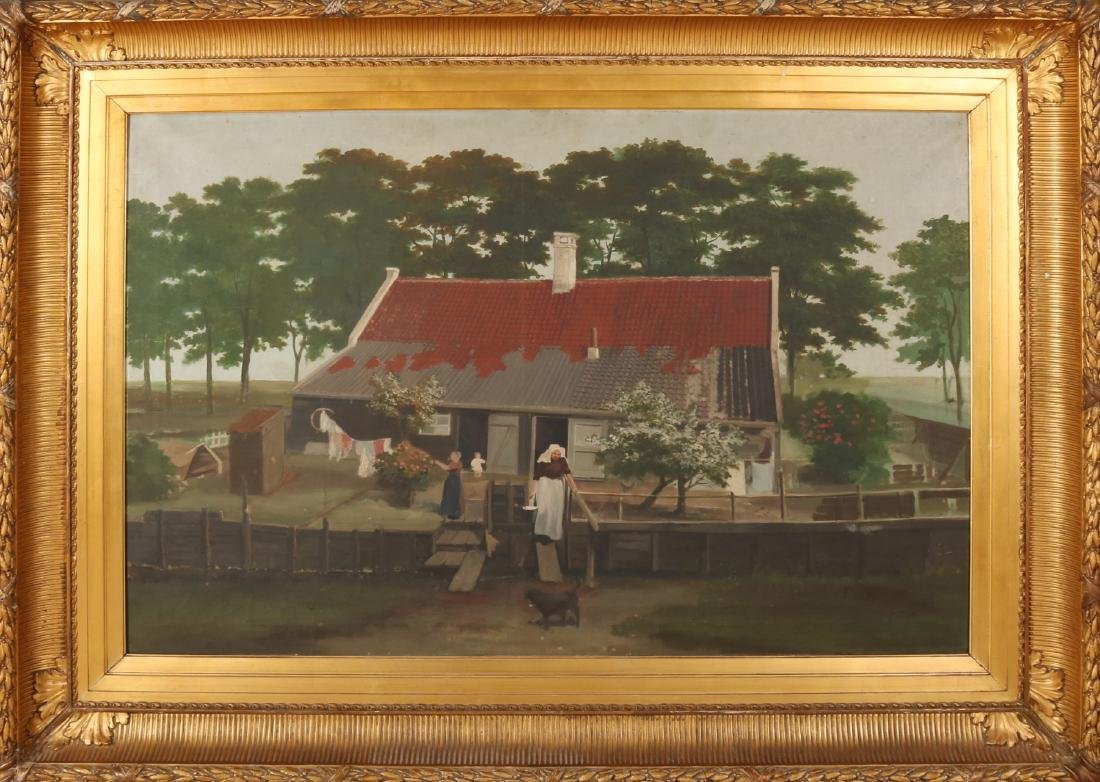 Unsigned. Circa 1880. Zeeland farm with farmer's wife, laundry, children and dog