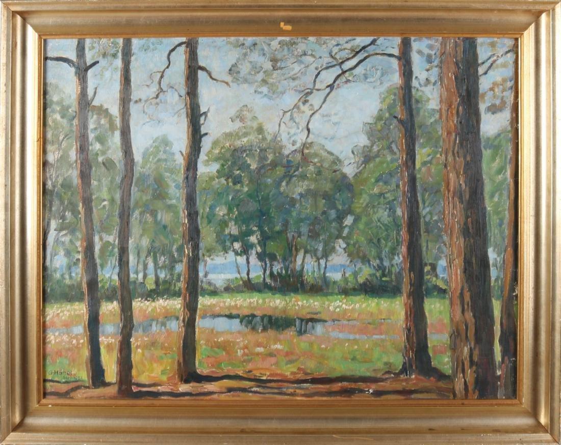 Georg Hänel 1932. 1879 - 1945. German school. Forest face with flower field. Oil