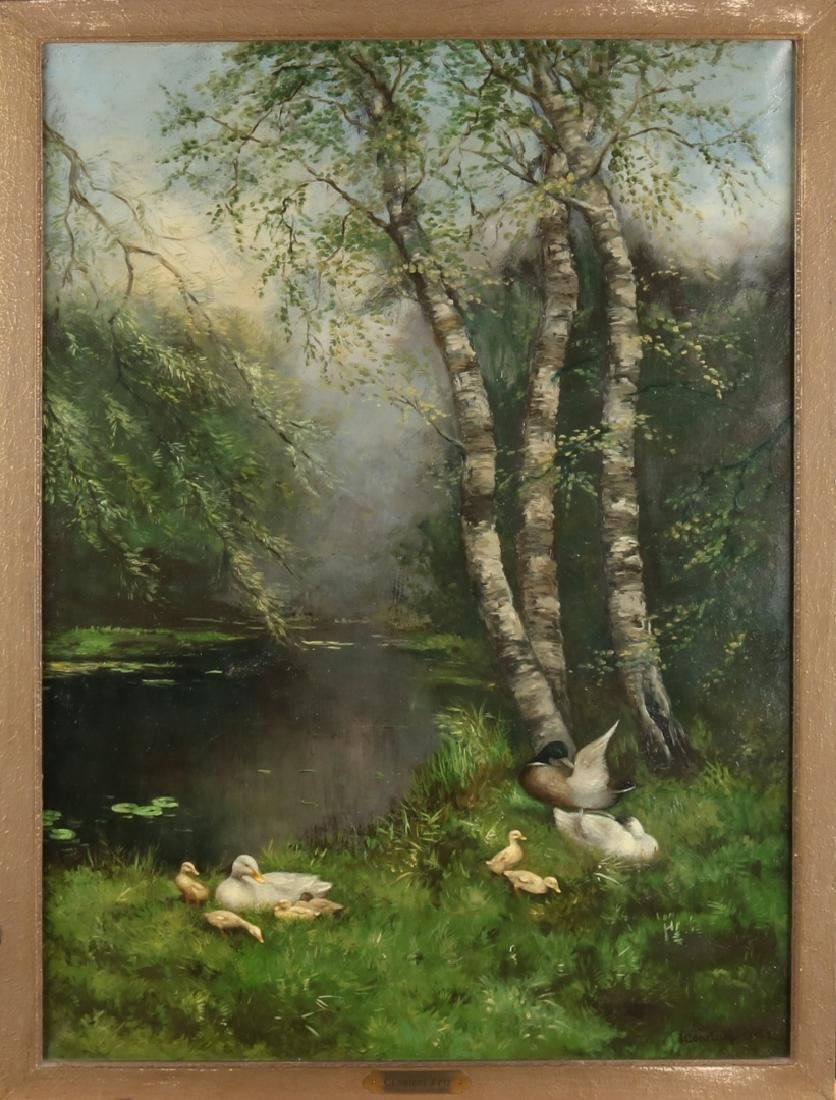 Signed Constant Artz. Duck family at waterfront at birch tree. Oil paint on line