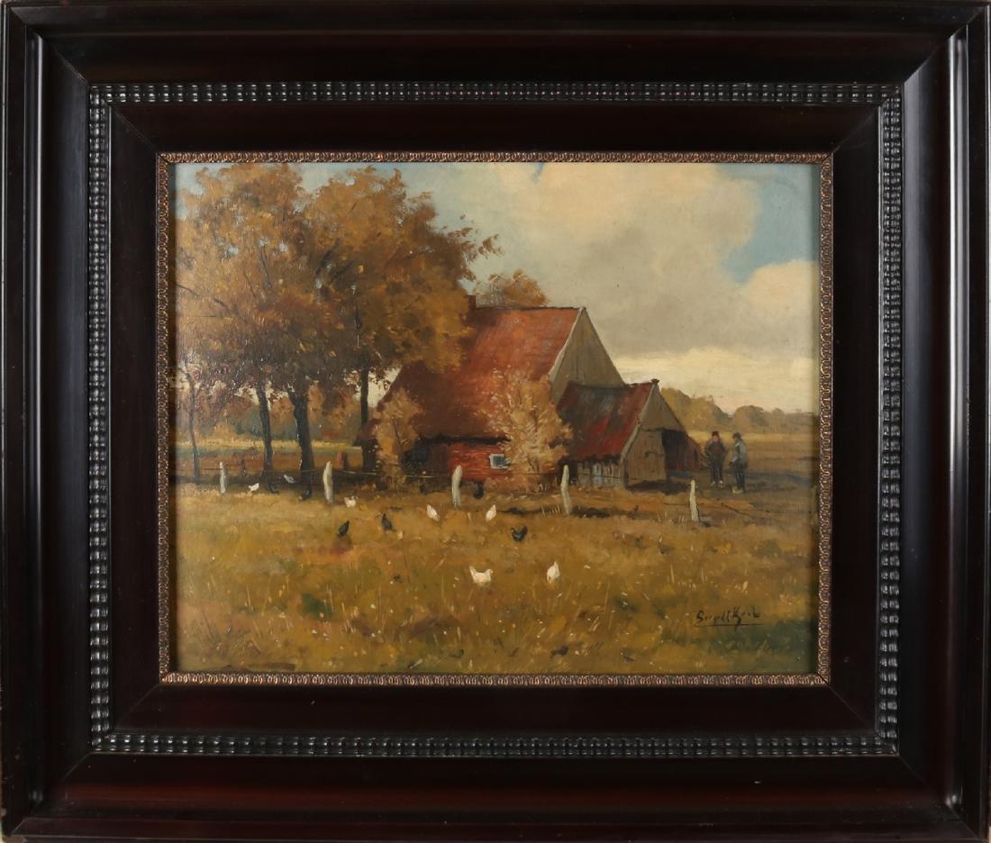 Gerard Krol. 1882 - 1950 Enschede. Biesmanskotten-Lonneker, with chickens. Oil p
