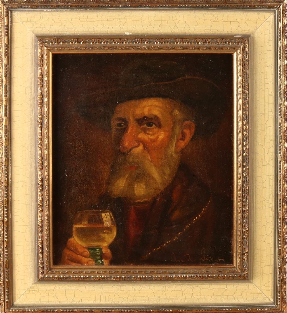 Unclear signed. German school. Circa 1930. German man with glass of wine. Oil pa