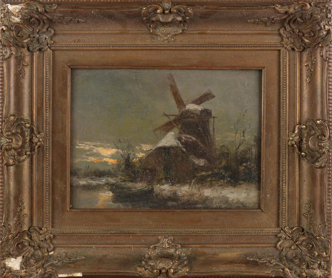 Constant Artz. 1870 - 1951. Dutch winter face at evening with windmill. Size: 18