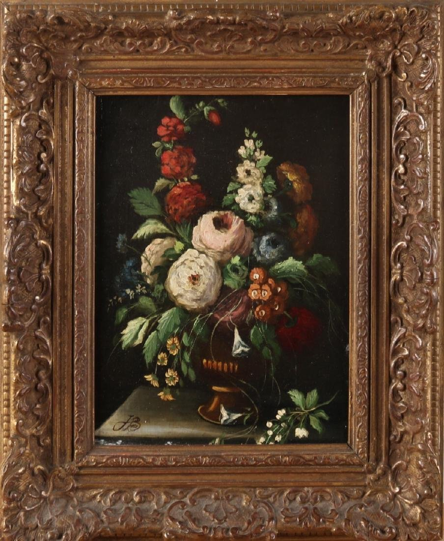 Monogram JB 20th Century. Vase with flowers in 17th century style. Oil paint on