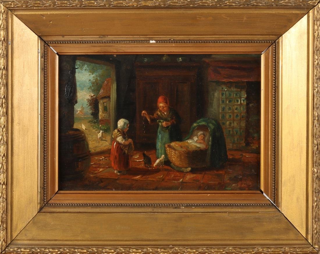 To Beetle. Circa 1900. Farmers interior with children, mother and chickens. Oil