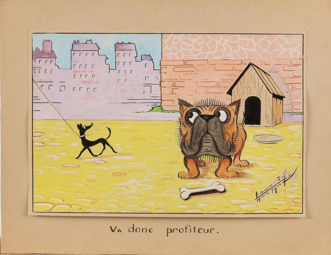 Unclear signed. French cartoonist. Va Donc profiteur. Bulldog with a cane. Water