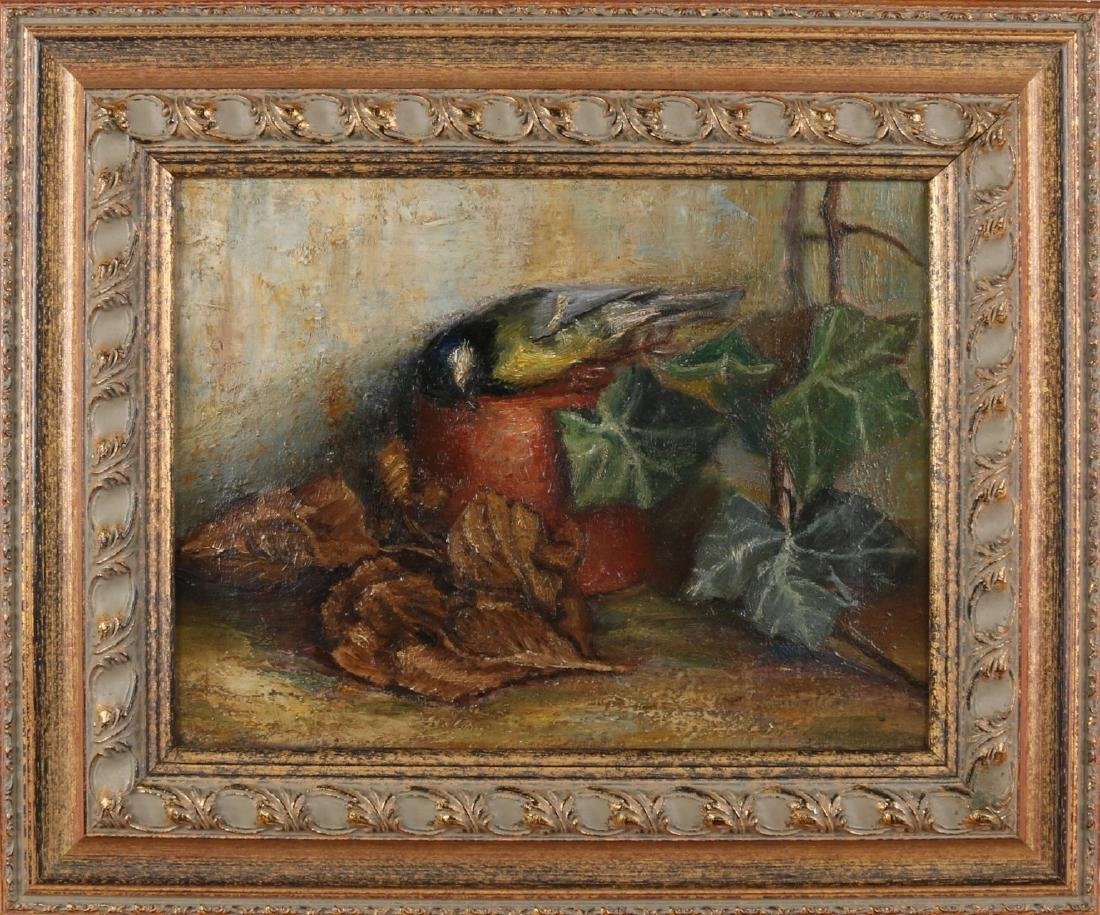 Unsigned. Circa 1930. Still life with flowerpot and dead titmouse. Oil paint on