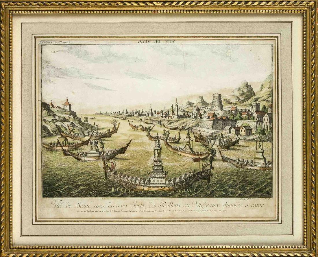 17th - 18th Century colored engraving. Vue de Siam par IX Haldermann. Engraving