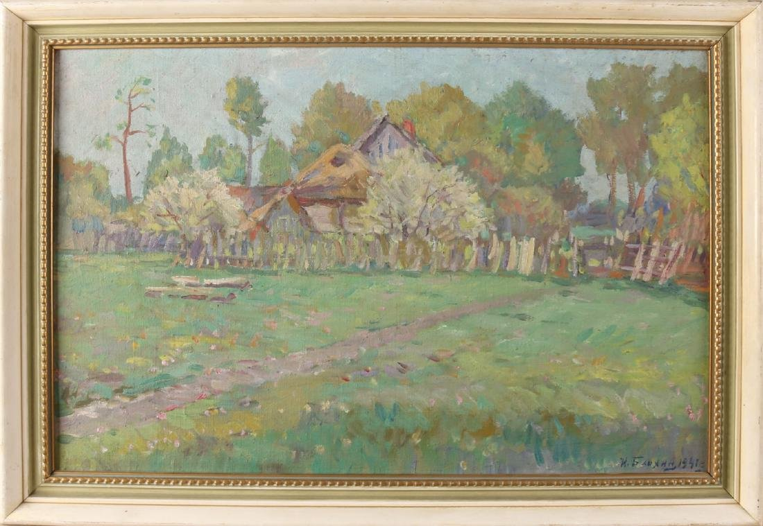 Signed. Russian school 1941. Impressionistic Russian landscape with farm. Size: