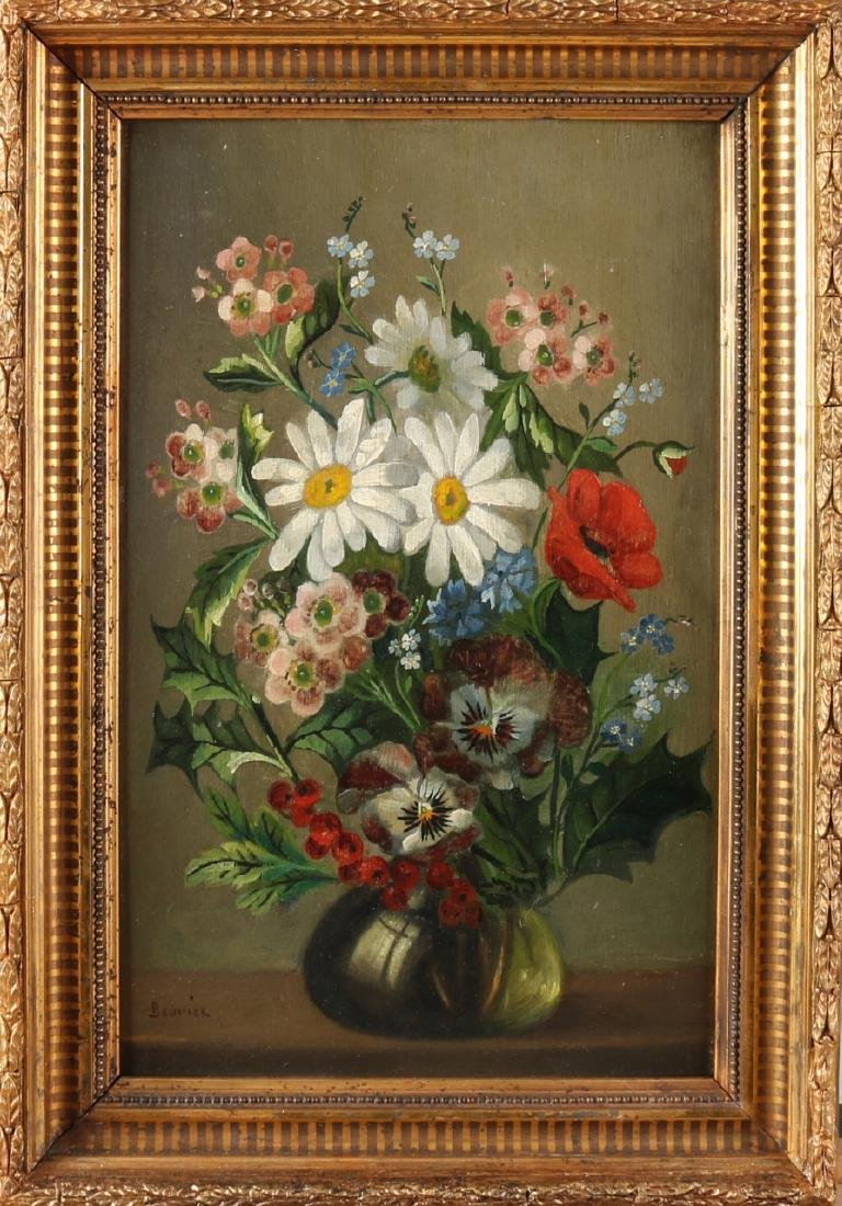 Bouvier. Circa 1900. Glass vase with flowers. Oil paint on panel. Size: 37 x 23