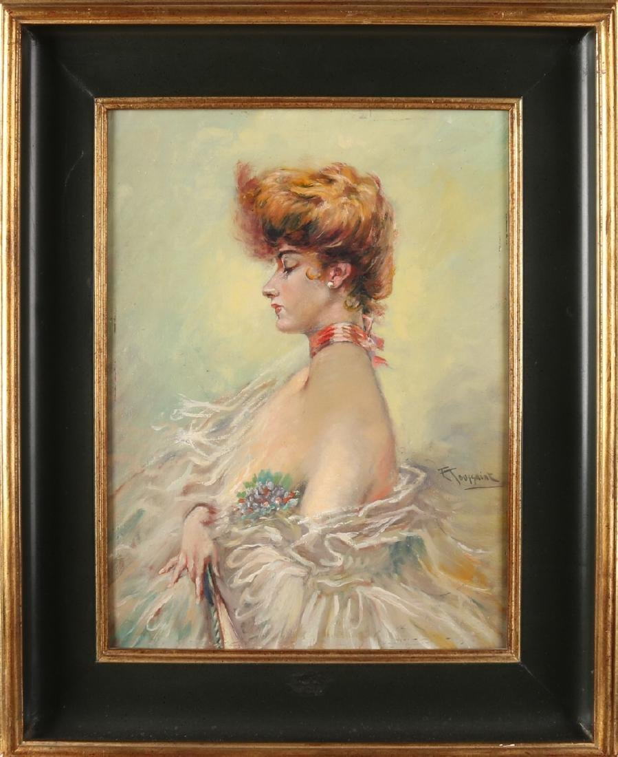 F. Toussaint. signed. Lady in summer clothing. Oil paint on panel. Size: 40 x 30