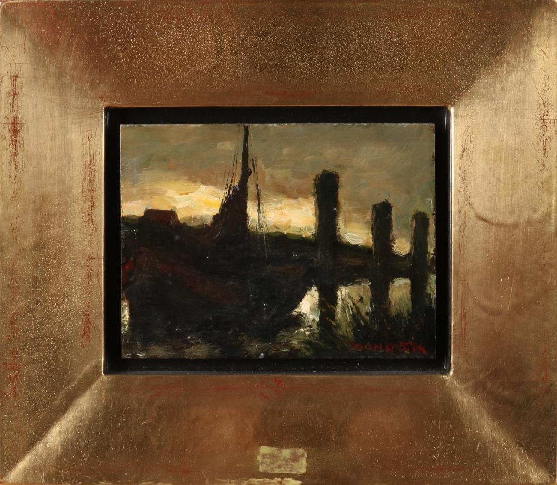 Show Koster. 1913 - 1990. Flat bottom in ditch at evening. Oise on panel. Size: