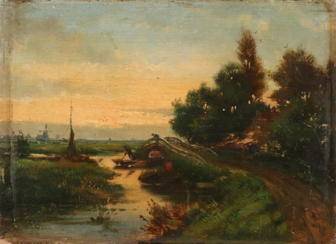 Unsigned. 19th century. Dutch school. Landscape at evening with figures at river