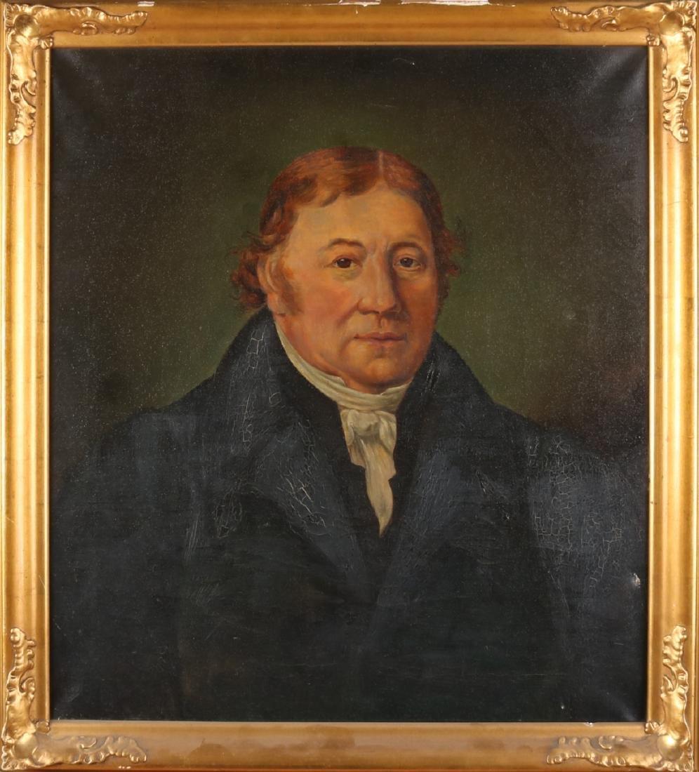 Unsigned. 19th century. Mans portrait. Oil paint on linen. Size: 68 x 58 cm. In