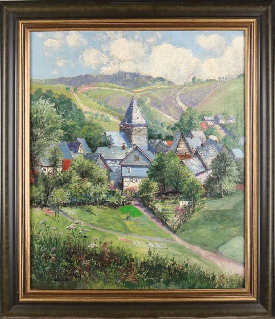Ludwig Müller. German school. Sunny village face. Circa: 1915. Oil paint on line
