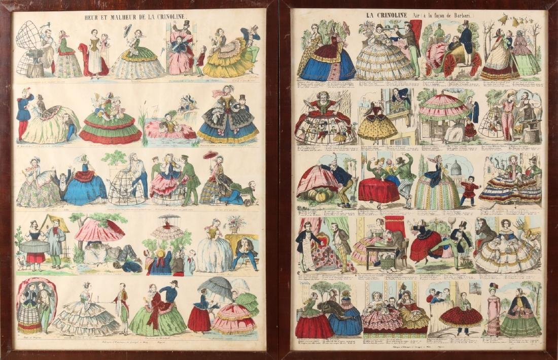 Four early 19th century hand-colored French engravings about the history of the