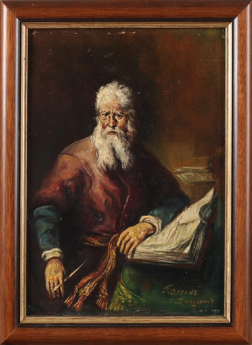 Ton Anconé. Oldenzaal (deceased). Male portrait, after Rembrandt. Oil paint on p