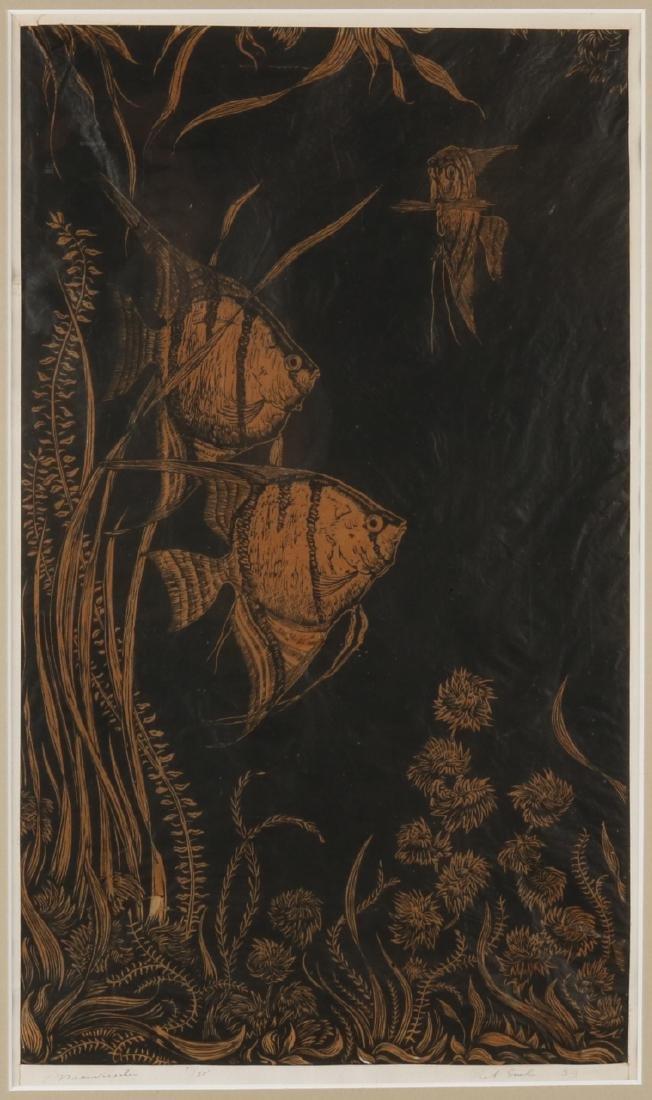 Piet Snel. 1911-1991. Angelfish. No. 1/25. Woodcut on paper. Size: 30 x 50 cm. I