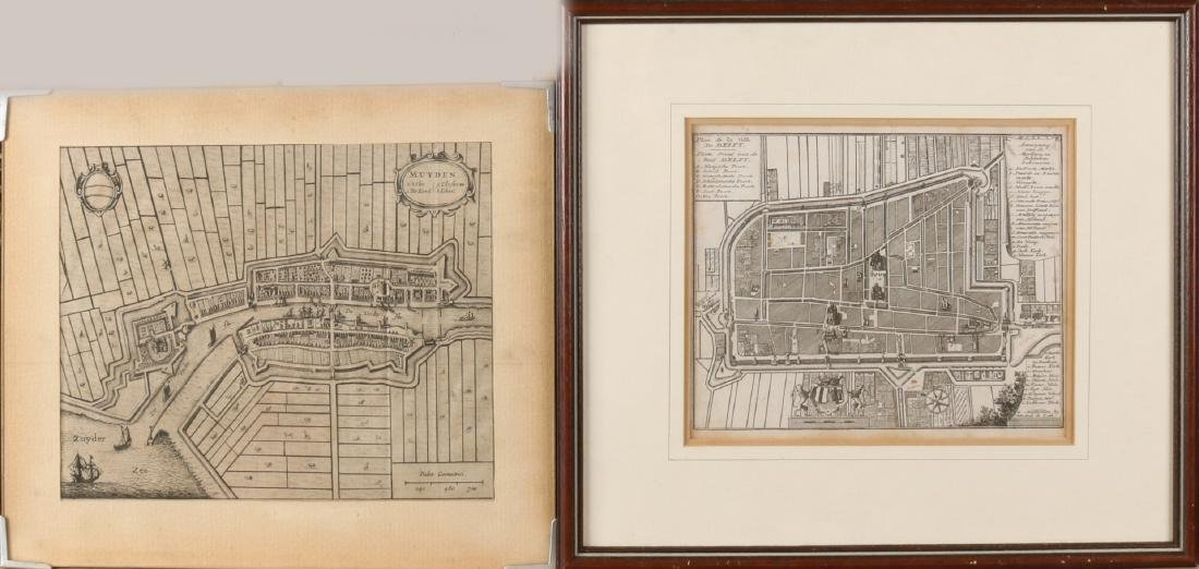 Two old / antique Dutch 17th - 18th century maps, city maps. Once Delft by Hendr