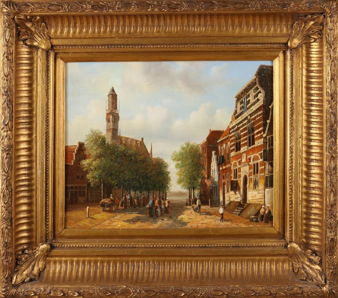 Unsigned. Second half of the 20th century. 19th Century Dutch cityscape. Oil pai